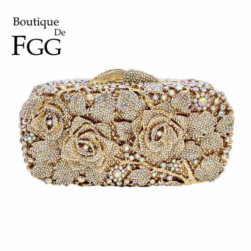 Favorite Wholesale- Bridal Metal Clutch Floral Rose Bag Women Crystal Gold  AE94