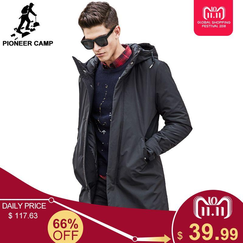 e6bae1aefde 2019 Pioneer Camp Long Warm Winter Jacket Waterproof Brand Clothing Male  Cotton Autumn Coat Quality Black Down Parkas Men 611801 C18110801 From  Linmei0006
