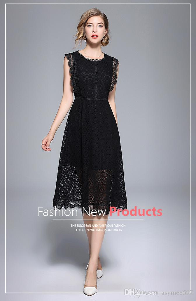 Fashion New Lace Dressessexy Sleevelesslace Hollow Out Patchwork