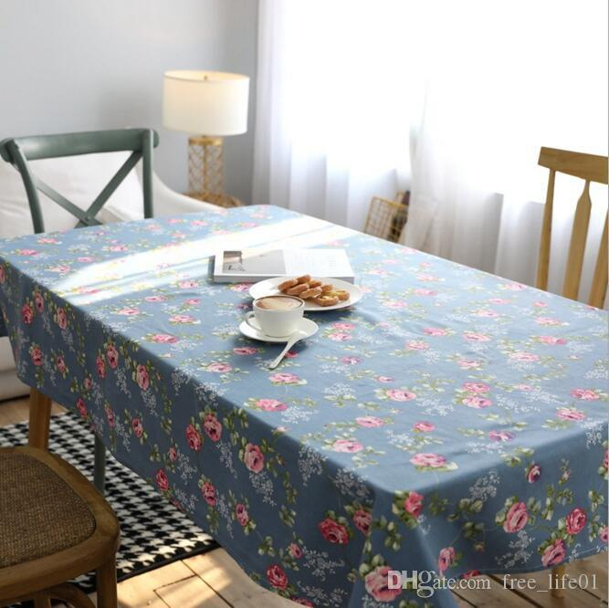 Newly Canvas Tablecloth With Pastoral Flower Floral Table Cloth Art Dinner  Table Cloth Home Decoration Trendy Table Cover For Wedding Party Cheap Cloth  ...