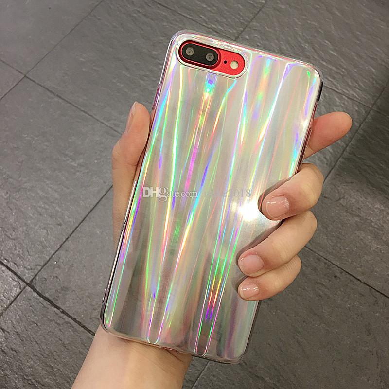 Colorful Phone Case For iPhone 8 8plus Cool Laser Rainbow Shining Case For iphone 7 6 6s Plus X Soft TPU Back Cover Bags Coque Capa