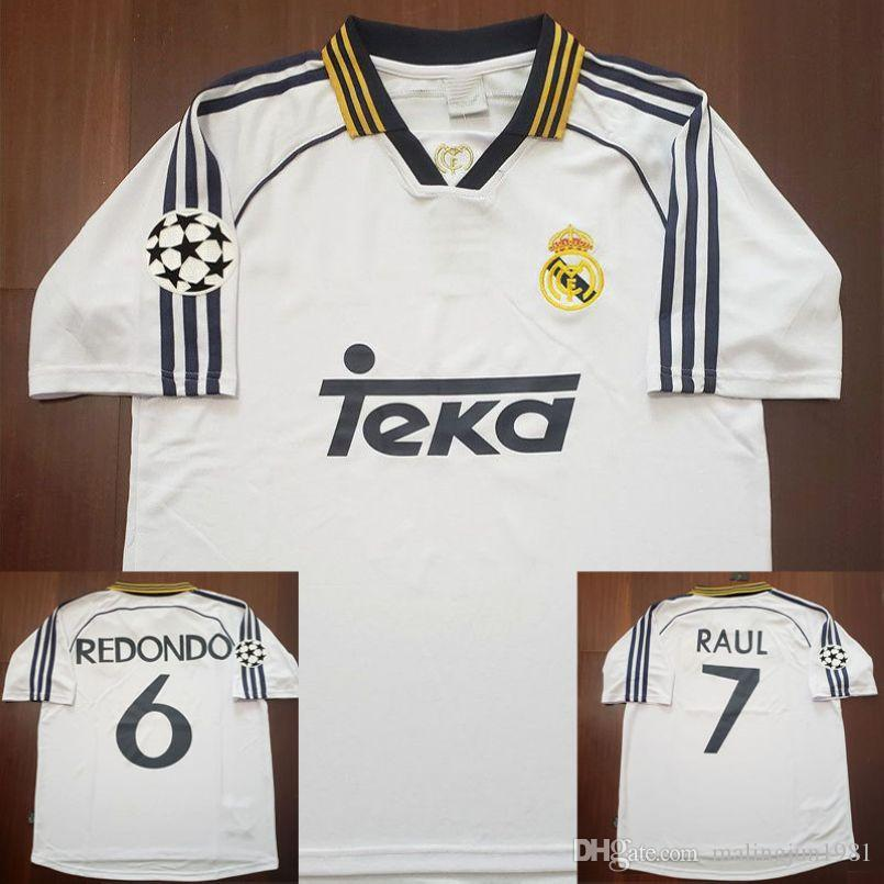 61dd2877d 2019 98 99 00 Real Madrid Retro Soccer Jersey RAUL Football Shirts 1998 1999  2000 Redondo Carlos Seedorf Vintage Classic Camiseta De Futbol From ...