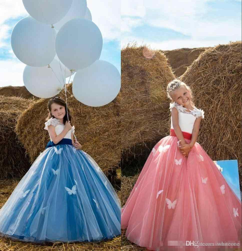 Beauty And The Beast Belle Inspired Flower Girls Dresses 2018 Cap Sleeves Butterfly Little Birthday Dress For Formal Event Party Girl Wedding