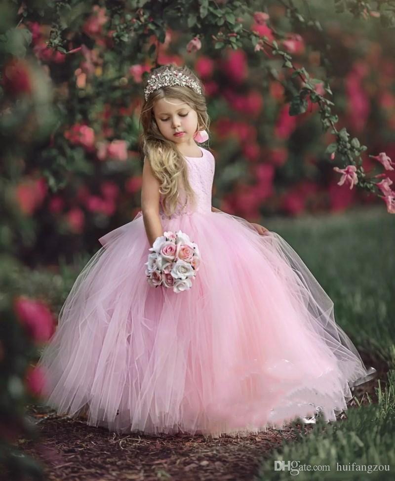 b035de6f6 2018 Pink Flower Girls Dresses With Ribbon Sash Open Back Long Puffy Ball  Gown Little Kids Pageant Dress Birthday Formal Gowns Newborn Girl Dresses  Princess ...