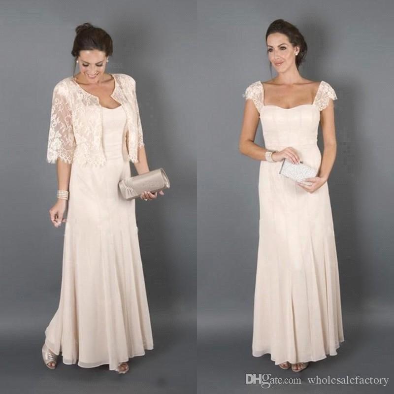 2018 Elegante Chiffon Longo Mãe de Vestidos de Noiva Jaqueta de Renda Chiffon Até O Chão Formais Mãe Vestidos Plus Size Evening Gownsl