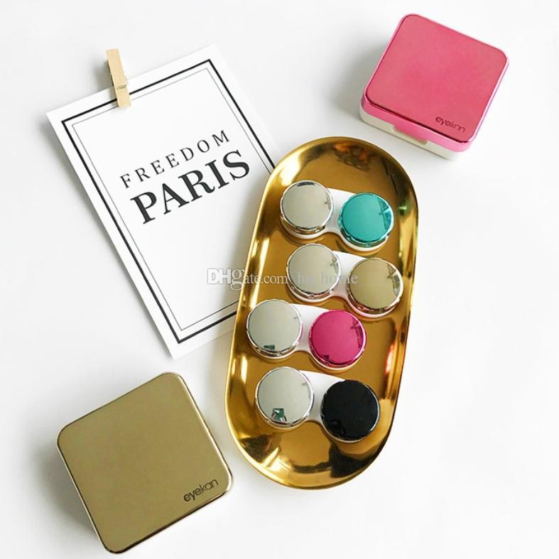 2018 New Mini portable contact lens care storage box suit Beautiful colour  contact lenses Nursing box 5 colors