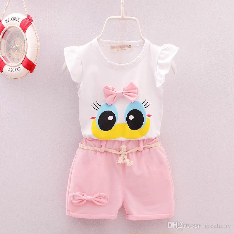 Newborn infant toddler kids0-1-2-3-4-5year old girl summer suit vest female baby wear summer clothes T-shirt+pant/2pcs