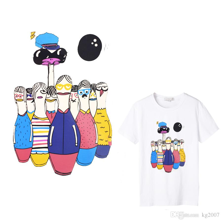 1 PCS Cute Bowling Stickers for Clothes Iron on Transfers Paper for Jacket  Girl T-Shirt DIY Patch Thermal Heat Transfer Patches
