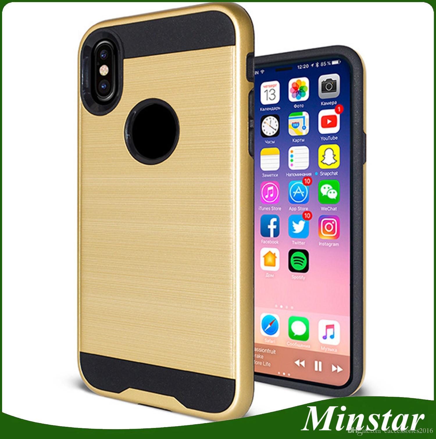 innovative design 22b6b 7d464 For iPhone X XS 10 i phonex PC TPU Brushed Metal Verus Luxury Phone Case  Cheap Polish Cover Cases In Stock 20PCS DHL