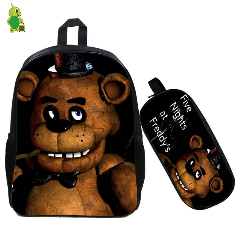 Five Nights At Freddy's Backpack 2 Pcs/set Children School Bags Fazbear Freddy Bonnie Backpack Students Book Bags Kids Gift