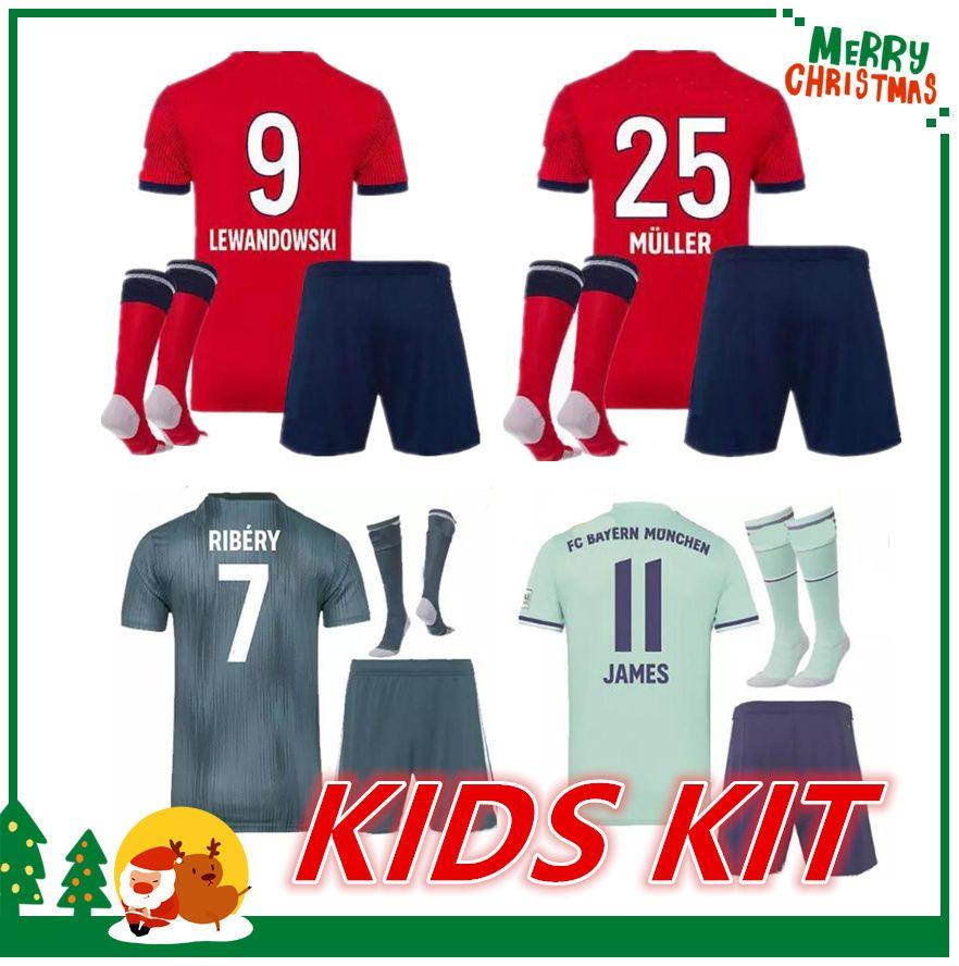 2018 2019 Niños Kit Bayern Munich Niños Camiseta De FútbolVIDAL COATA  LEWANDOWSKI MULLER Camisetas Para Niños ROBBEN GOTZE BOATENG ALABA Uniforme  Infantil ... f35b8253f4b