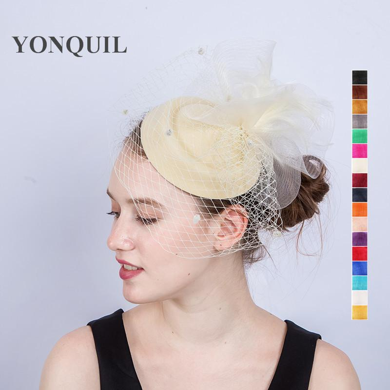 42f8e8efa2b Winter Fedoras Pillbox Hats Vintage Style Wool Felt Women Veil Party  Fascinator With Feather Wedding Hats Ascot Church SYF210 Photo Party Hats  Picture Of A ...