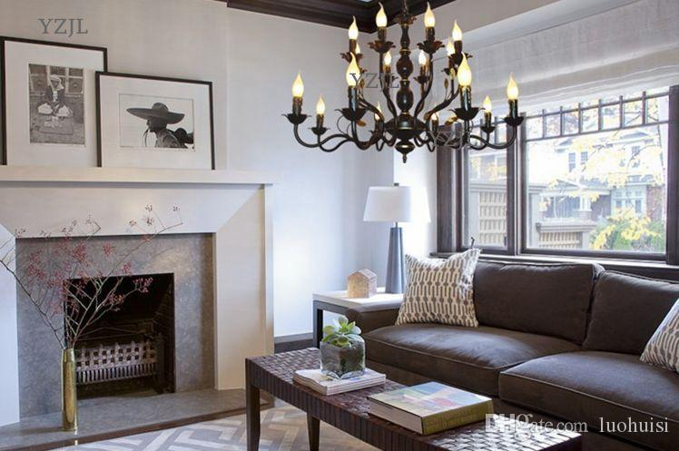 American European iron candle art led lights chandelier lighting living room bedroom restaurant study lighting chandelier