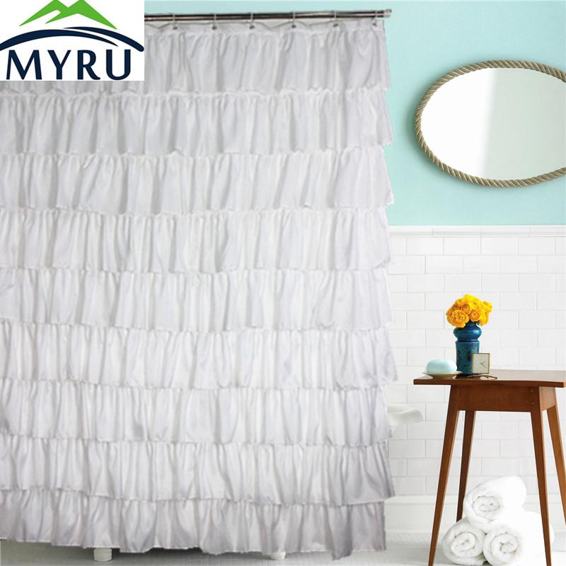2018 MYRU Country Style Solid Color Shower Curtains Waterproof Polyester White Lace Dressing Princess Bathroom Curtain From Crape 4643