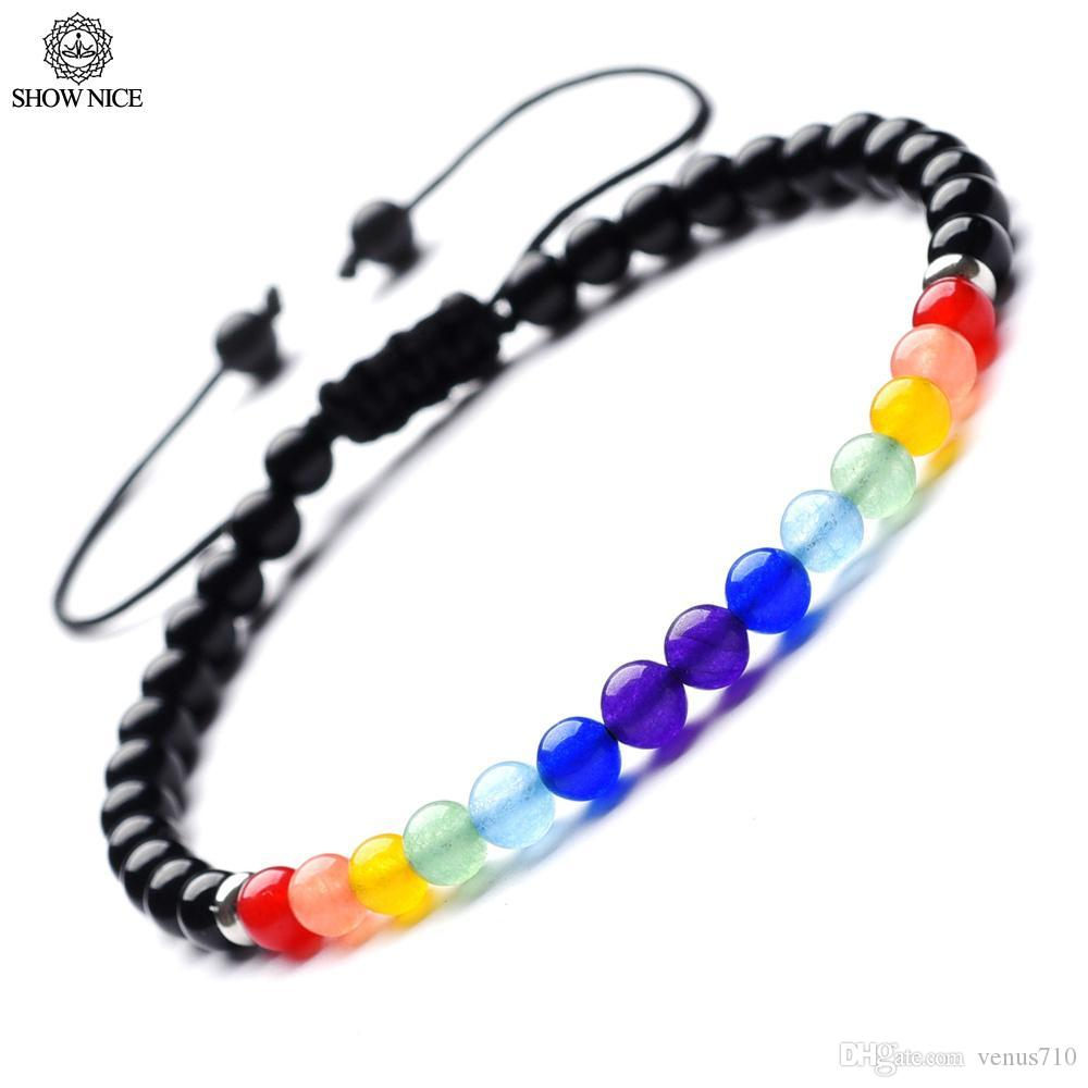 914ff04764e7 Compre SHOW NICE 7 Chakra Yoga Natural Jewelry 4mm Blanco Howlite Carnelian  Onyx Difusor Reiki Healing Braid Pulsera Para Mujeres Hombres A  28.85 Del  ...