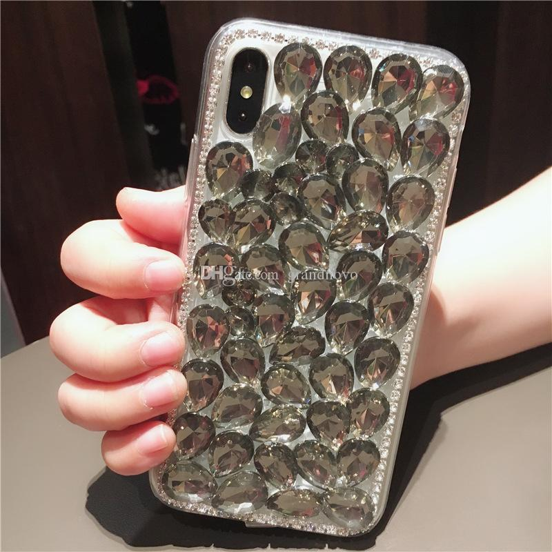 Handmade Bling Diamond Rhinestone Crystal Shinny Acrylic Shockproof Cover Hard Case For iPhone X 8 Plus 7 6 6S Samsung Galaxy S9 S8 Note 8