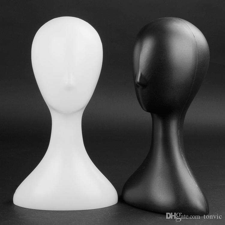 TONVIC بالجملة البلاستيك الأبيض / أسود أنثى عارضة أزياء رئيس للحصول على القبعة كاب حامل الباروكات حامل اكسسوارات الشعر شماعات العرض حامل حامل