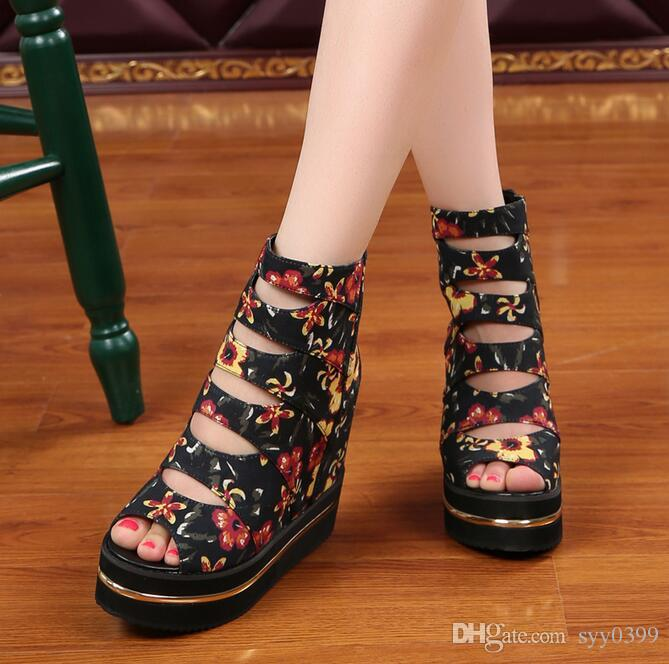 eb15a5a80 New Style Woman High-heeled Wedge Heel Sandals Sequined Flowers ...