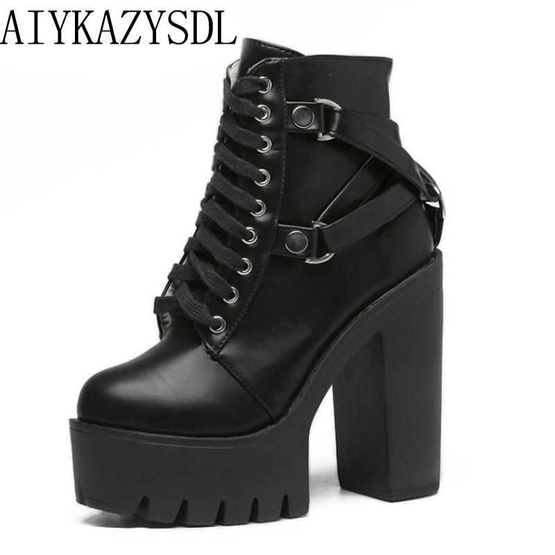 703d82f6f25 AIYKAZYSDL Gothic Cross Strap Ankle Boots Women Faux Leather Platform Block  Chunky Thick Ultra High Heel Gladiator Shoes Bootie Ankle Boot High Heel  Shoes ...
