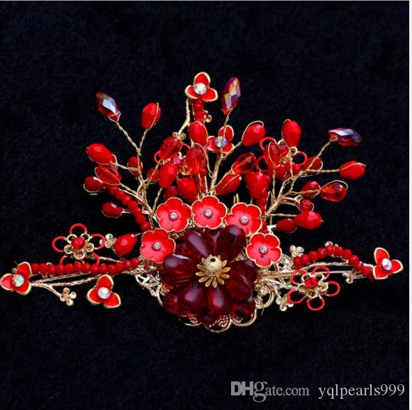 Brauthochzeits-neue headwear Haarnadelbraut, der rote Quaste Hochzeits-Schmucksachen wedding ist