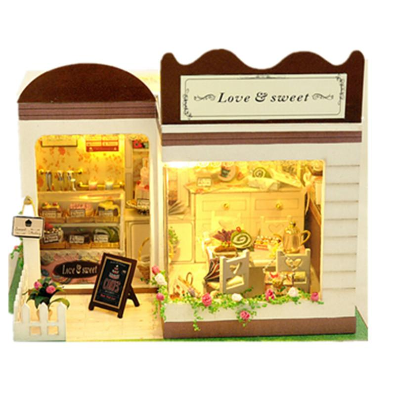 Wooden Doll House Bakery Shop With Tiny Furnitures Set Miniature 3d Puzzle Diy Dollhouse Kit Miniaturas Model For Decoration Toy
