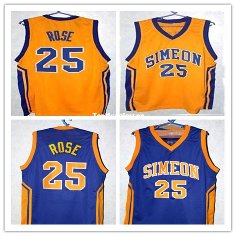 f40ad7b558c 2019 Cheap DERRICK ROSE #25 SIMEON HIGH SCHOOL BASKETBALL JERSEY BLUE,Yellow,Stitched  Men'S XXS 6XL Jerseys Customize Any Size Number From Topncaajersey, ...