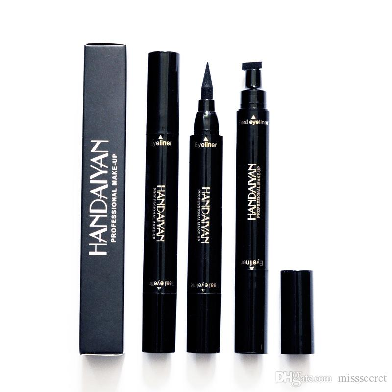 HANDAIYAN Dual End Black Liquid Eyeliner Pencil Pro Waterproof Long Lasting 2in1 Eye Makeup liner Pen Cat Eye Cosmetic Stamps dhl free