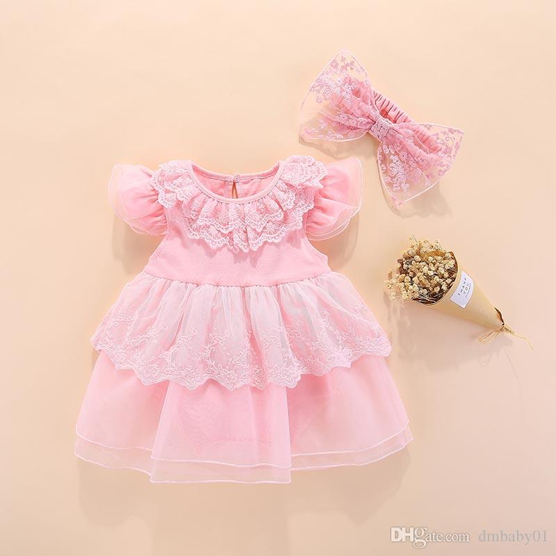 Hot sale Baby girls dresses clothing Summer girls princess dress tutu toddler clothes pink lace dress for a full moon birthday gift