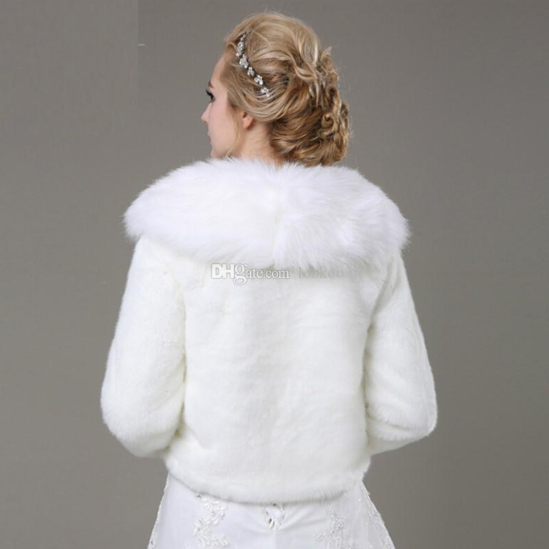 New Long Sleeves White Faux Fur Bridal Wrap Winter Daily Wear Warm Short Thick Wedding Jacket Short Coat with Neck High Quality