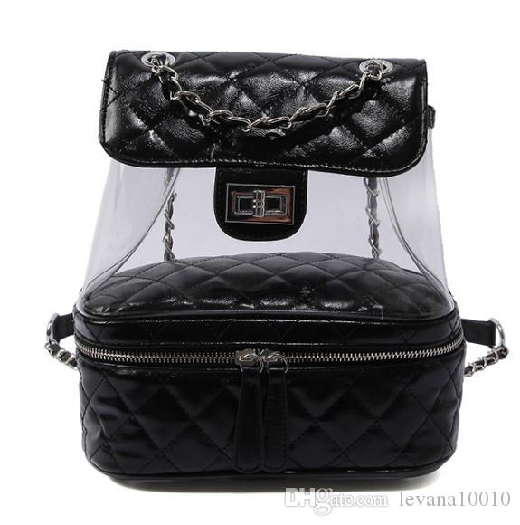 2018 Luxury Leather Designer Bags Clear Bag Transparent Backpacks ... 8f80419436