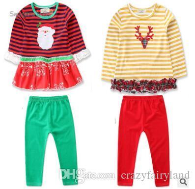 bf29df4377 Christmas Pajamas Kids Pajamas Sets Fall Winter Cotton Long Sleeve T ...