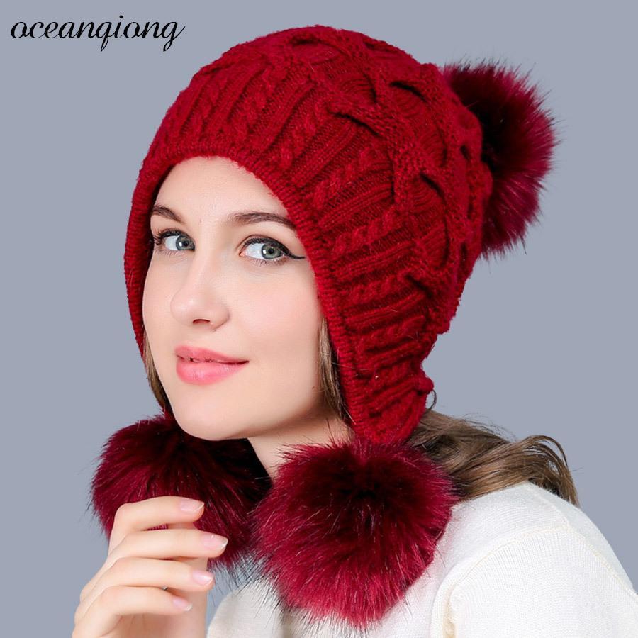 Compre Sombrero De Invierno Para Las Mujeres Cálido Conejo Skullies Beanie Gorros  Sombreros De Punto Tres Pompones Gorra Chicas Femeninas Lindas Gorras De ... 1698a13c2b43