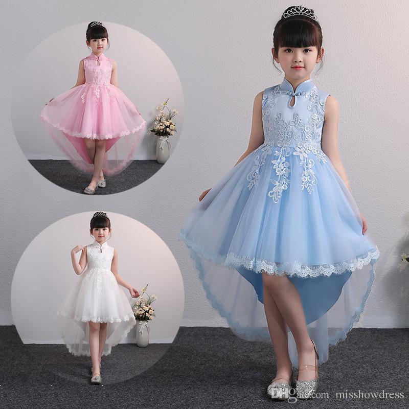 Pink Ball Gown Flower Girls Dresses for Wedding Kids Birthday Princess Lace Appliqued Tutu Skirts Vintage Child First Communion Dress MC1608