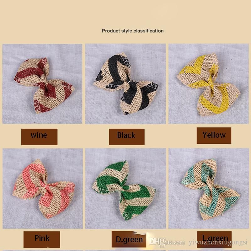 Factory direct Linen butterfly bow Apparel Shoes Hat Decoration DIY Handmade Colorful 5.5*8cm many colors Home decoration