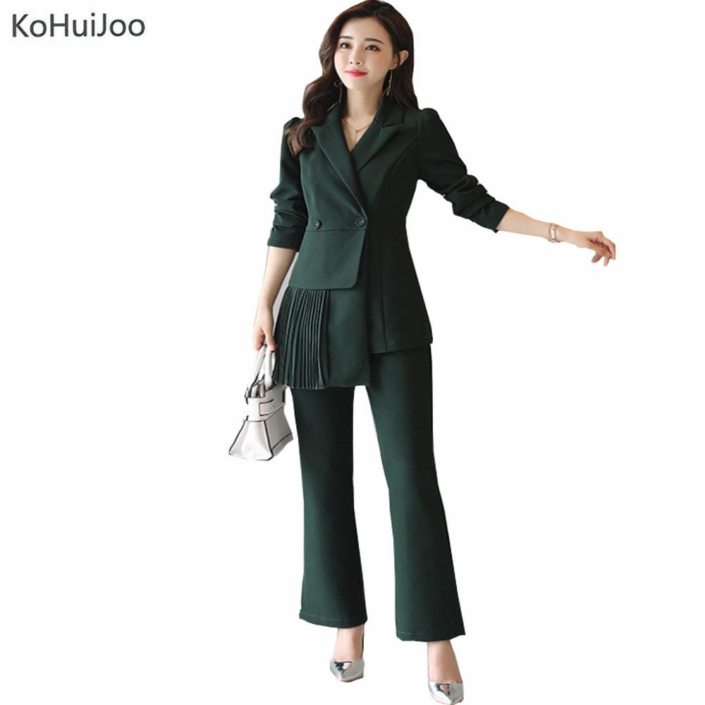 2018 Wholesale Kohuijoo Spring Autumn Ladies Elegant Pants Suit Women Fashion Office Business Suits Pleated Blazer Pant Sets Formal Work Wear From Baiqian
