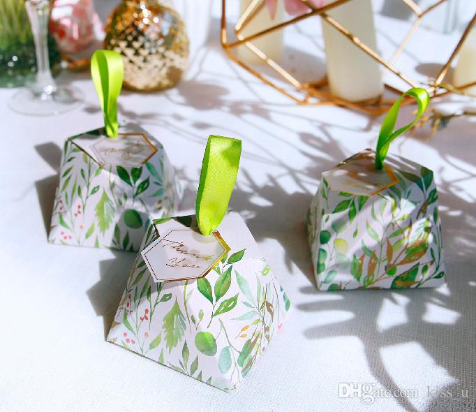 Creative Green Diamond Wedding Favors Candy Boxes Thank You Party