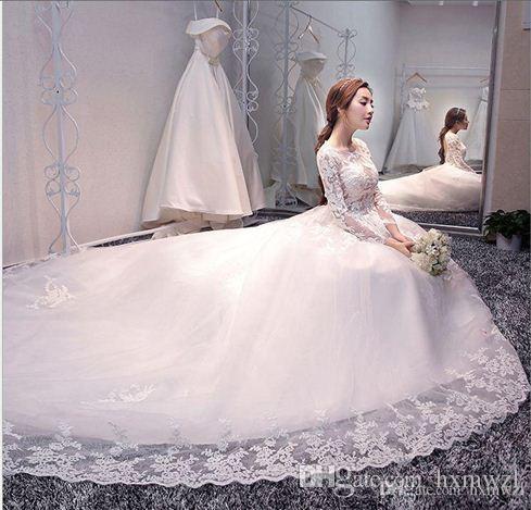 2018 New Korean Version Of The Shoulder Wedding Dress Long Sleeves