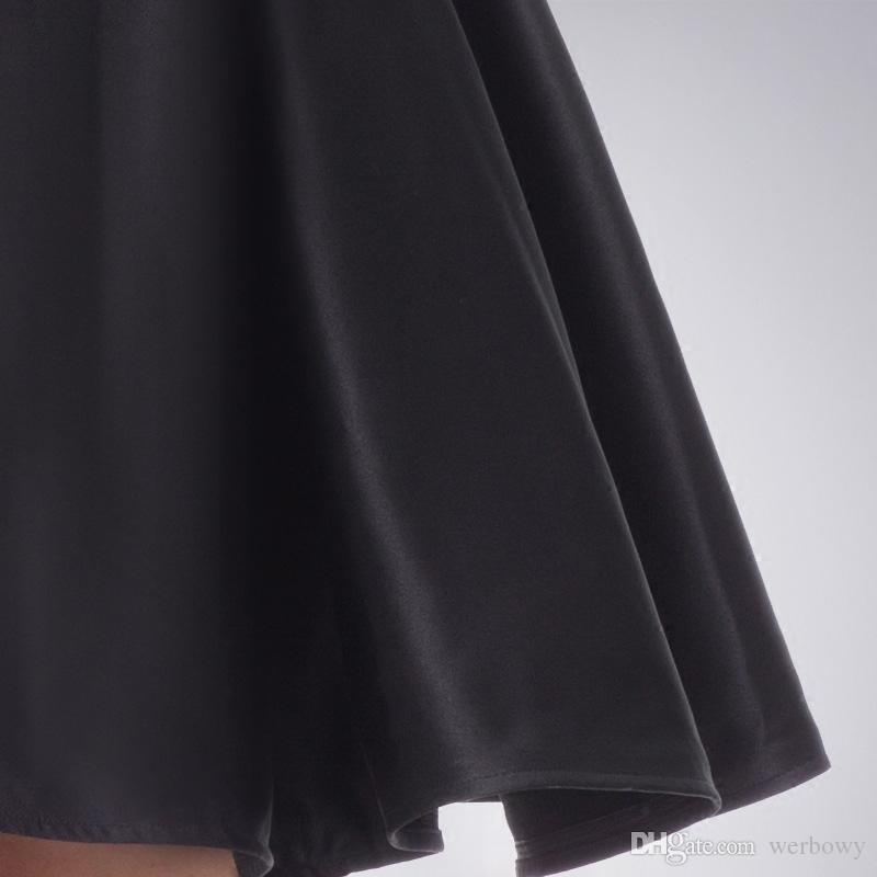 Alta Qualidade Preto Sem Mangas Festa Vestidos de Baile New Black A Linha de Cintura Alta Lace Backless Cocktail Homecoming Vestidos HY148