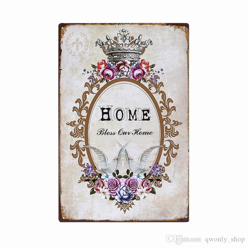 Lovely Flower WELCOME To My Home Iron Metal Poster Tin Sign Plate Wall Decoration Vintage Art Painting Family Rule Plaque