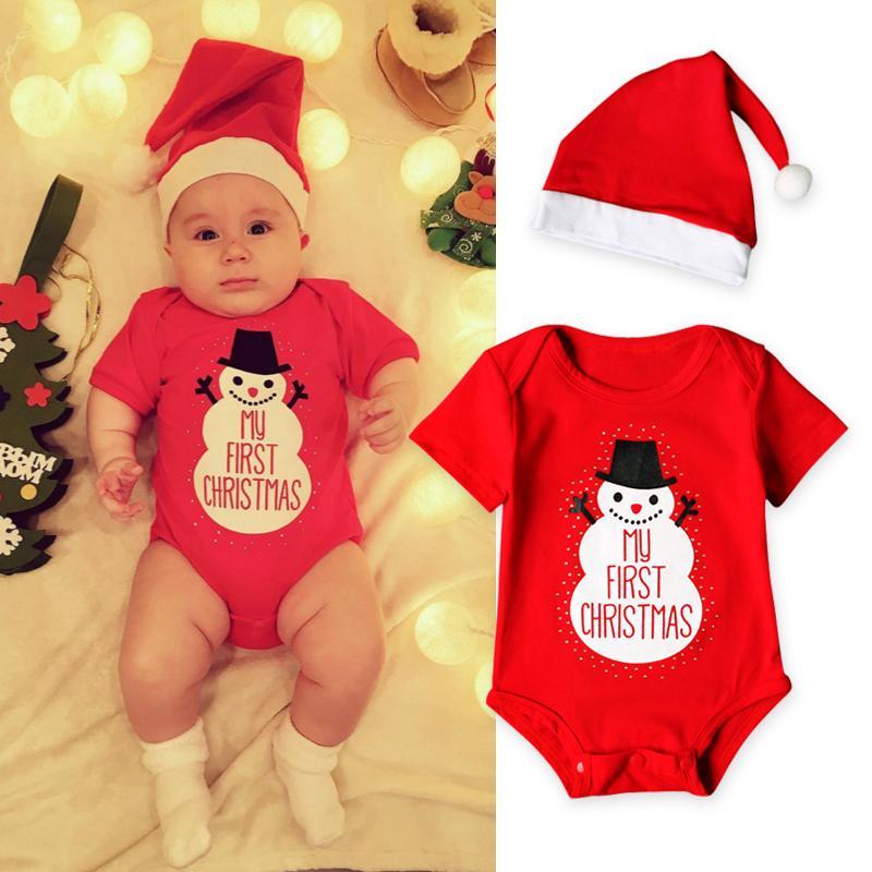big sale 13e10 a63c6 Mein erstes weihnachten baby jungen strampler casual baby mädchen kleidung  neugeborenen langarm overall schöne hut kleidung sets