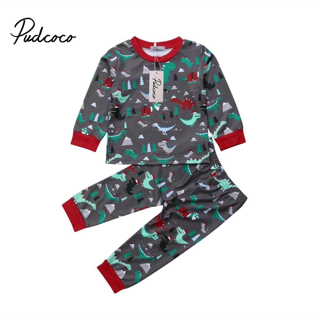 c913ff131b6a8 Acheter 2018 Nouvelle Arrivée Enfant En Bas Âge Nouveau Né Enfant Enfant  Bébé Fille Garçon Xmas Dinosaur Tops Pantalon Leggings Tenue Vêtements  Pyjamas De ...