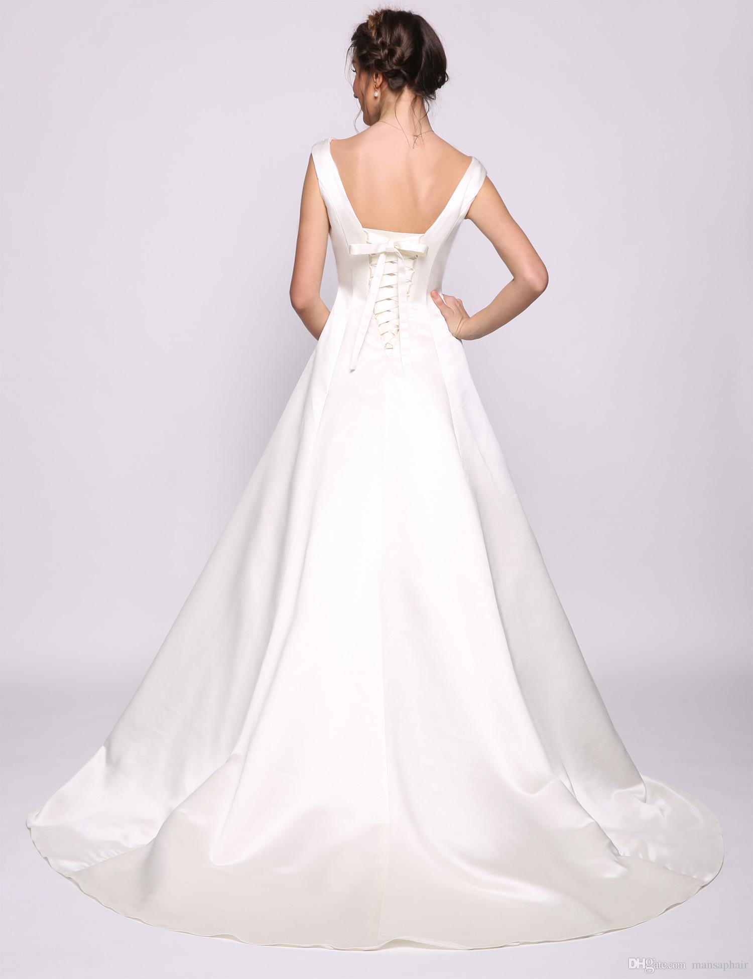 Plus Size Casual Brautkleider Günstige A Line Stain Hochzeitsgast Kleid Brautkleider Bodenlangen Lace-up Brautjungfer Kleid lang