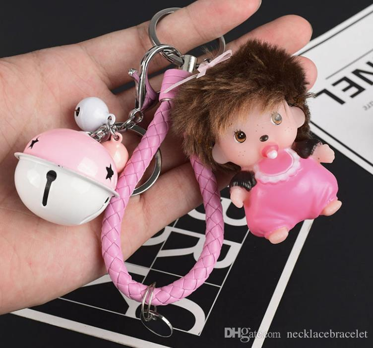 2018 Fashion 10 styles Creative naughty pacifier doll bell Key Chain Accessories cartoon Tassel Key Ring bell Car Keychain toy Charm