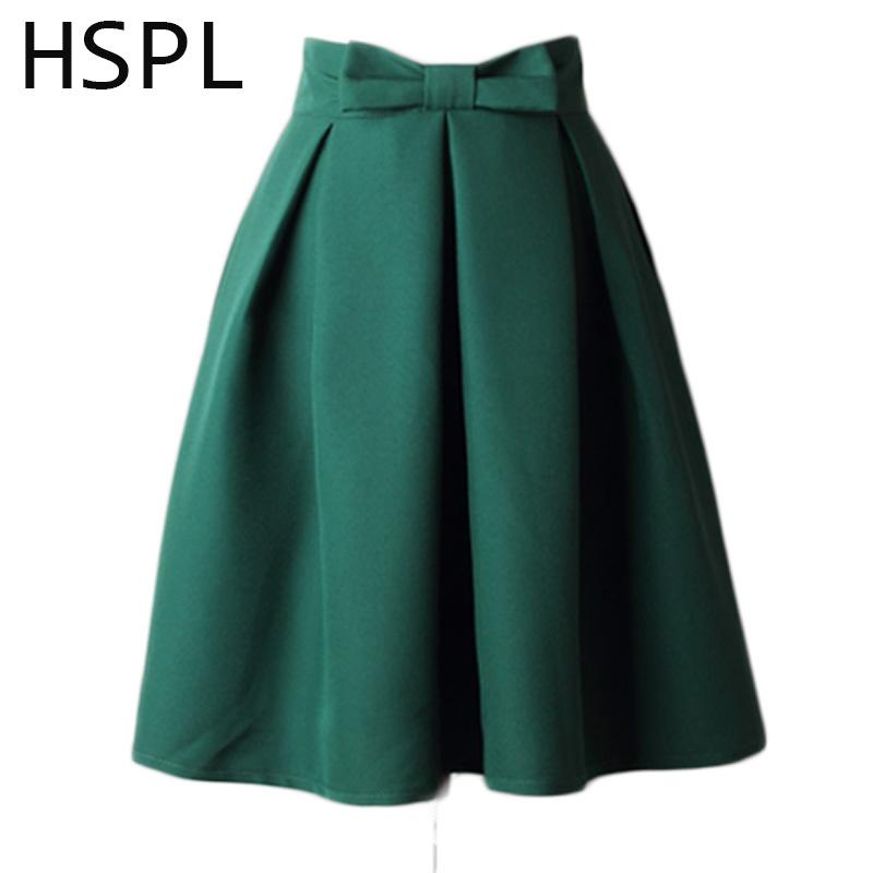 c768c599b 2019 HSPL Women Skirt 2018 New Design Summer Plus Size Pleated Skirts Solid  Color Female High Waist Fashionable Retro Saias Femininas From Caidiepicao,  ...