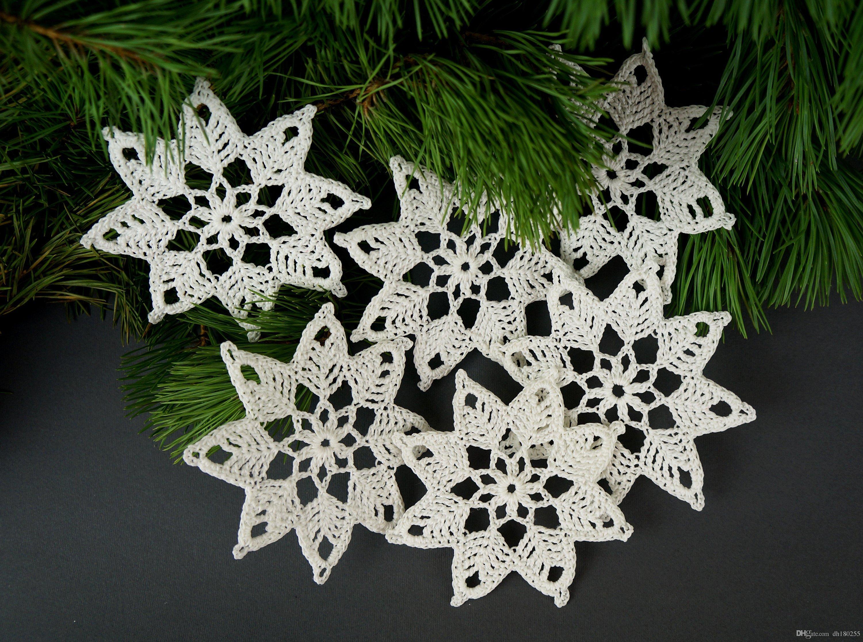 2018 handmade crochet snowflake set christmas tree decorations