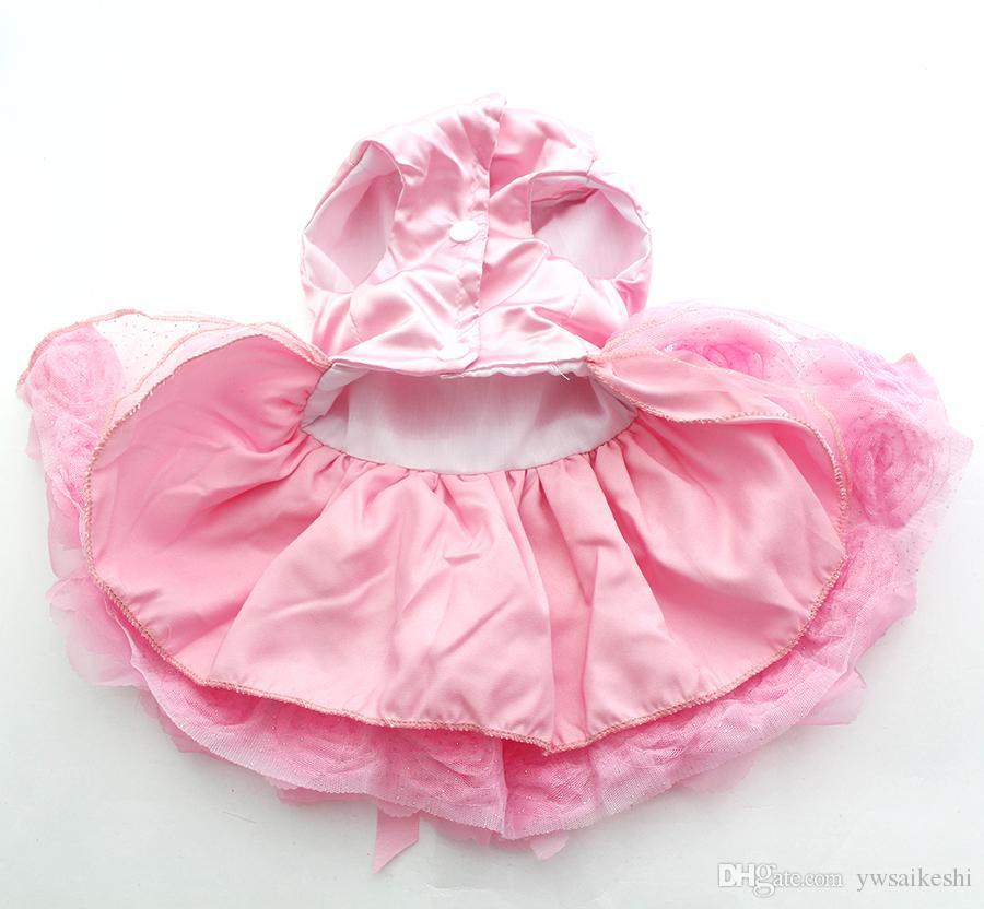 كلب صغير القط الأميرة اللباس القميص RosetteBow تصميم الجرو فساتين تنورة الربيع / الصيف الزي ملابس ملابس 2 الألوان 6 الأحجام