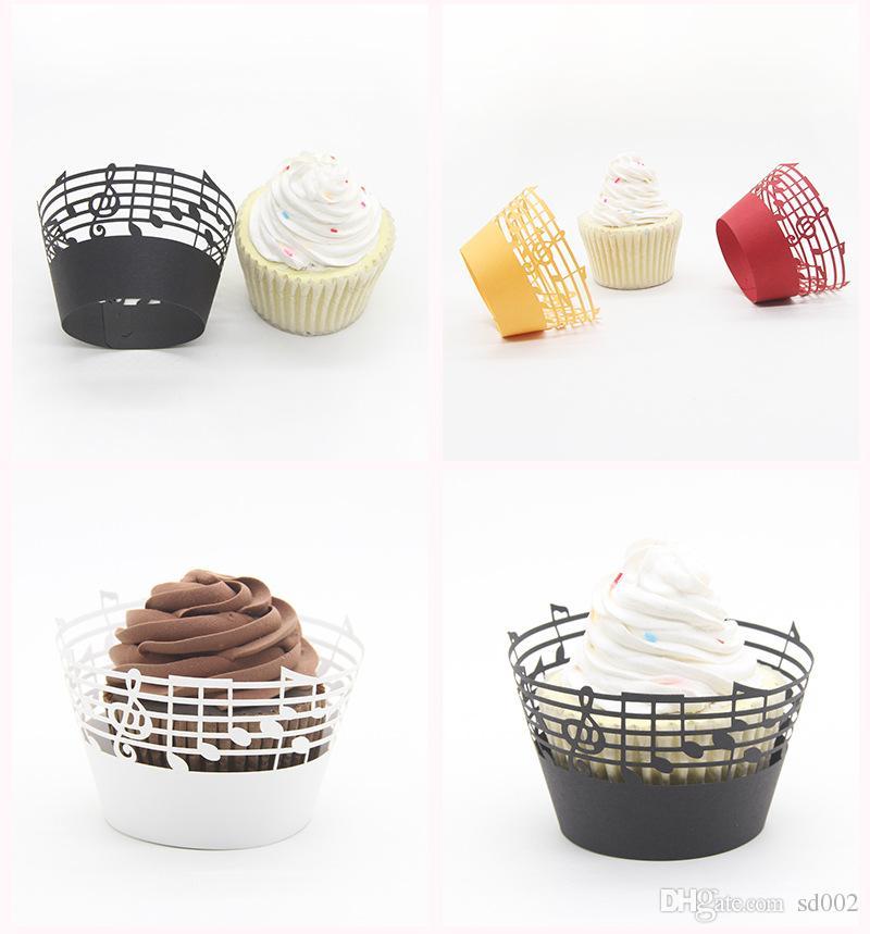 Yaratıcı Pişirme Kağıt Bardaklar Çok Renkli Çörek Fincan Nota Dantel Lazer Kesim Kek Düğün Parti Dekorasyon 0 35ym C R