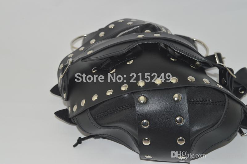 BDSM PVC Leather Hood Mask Head Bondage Belt Slave In Adult Games,Fetish Erotic Porno Sex Products Flirt Toys For Men And Women
