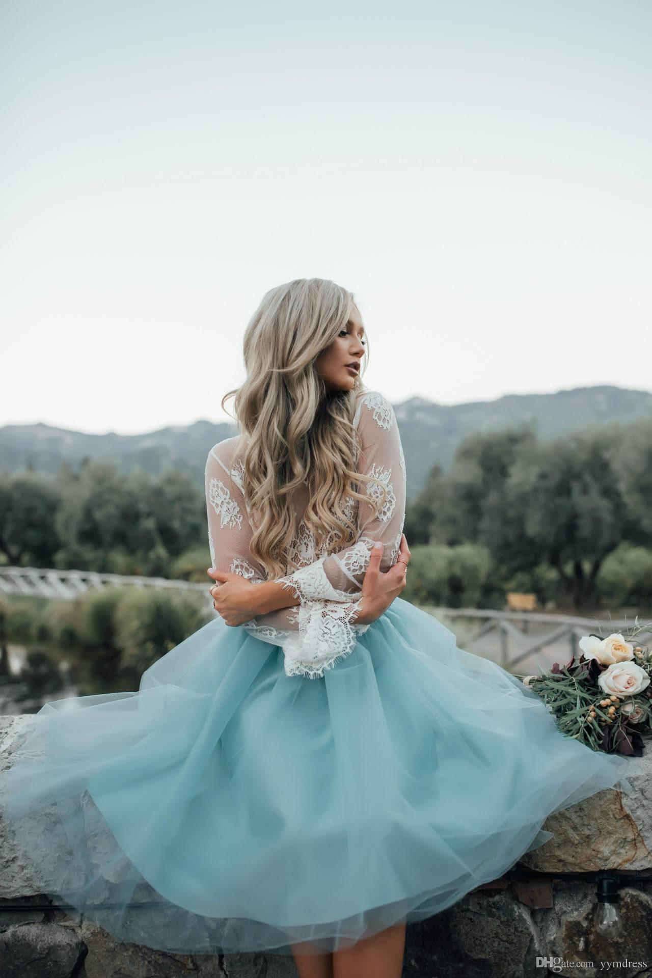 cocktail dresses 2019 Long Belle Sleeve tea-length arabian formal evening gowns Two Pieces Short prom Blue Lace See Through Plus Size