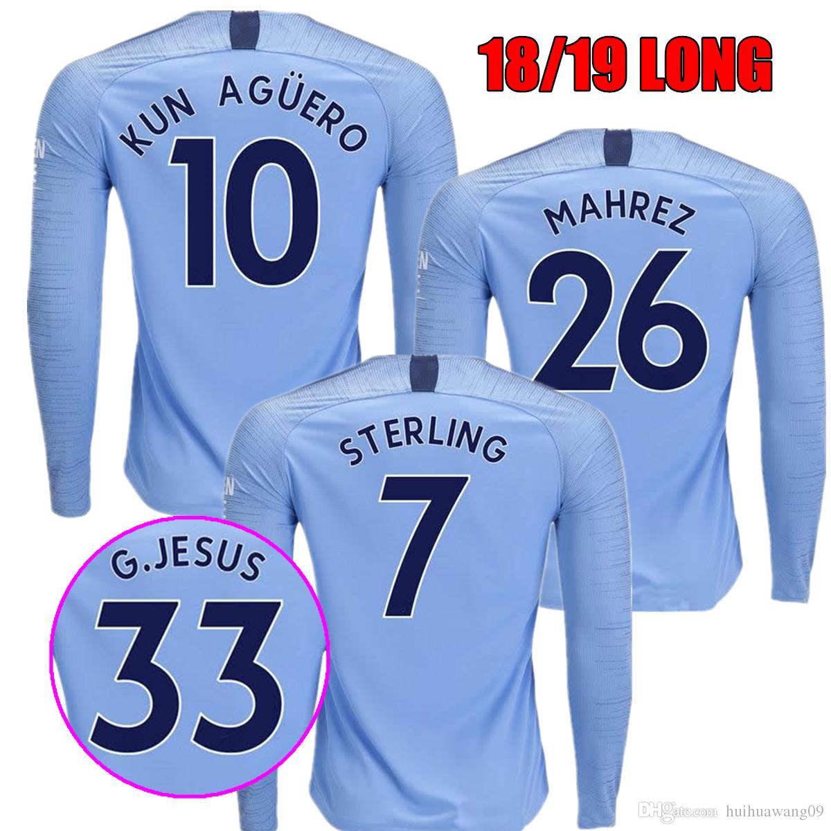 18 19 MAHREZ KUN AGUERO G.JESUS Home Moon Blue Soccer Jersey Long ... d8b87238e5f9a